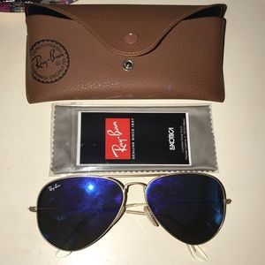 Ray Ban aviator sunglasses blue lenses gold frame